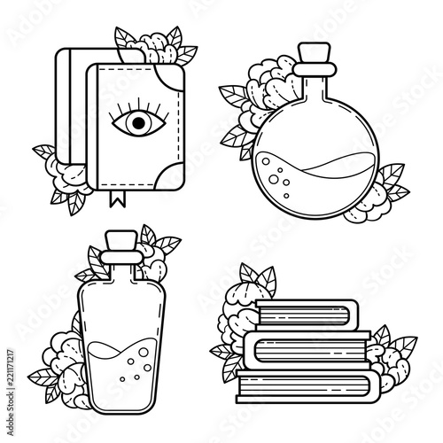 Magic books, bottles with a magical potion  A set of