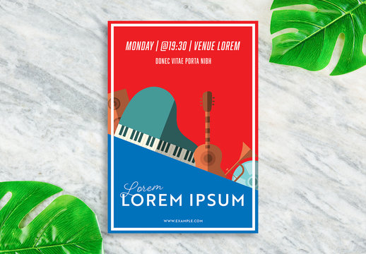 Music Flyer Layout with Instrument Illustrations
