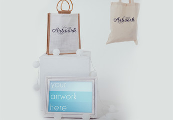 Picture Frame and Two Tote Bags Mockup
