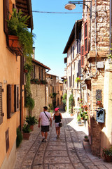 Spello, ancient Roman and medieval city, touristic details, Umbria, Italy