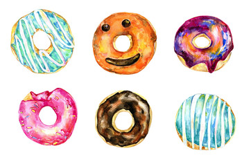 Doughnuts collection , watercolor doughnuts, colorful doughnuts, food , sweets, baked goods, party, holiday, birthday, bridal shower, wedding, celebration,  300 dpi
