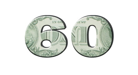 60 Number. American dollar banknotes. Money texture. Isolated on white background