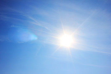 Blue Sky with Shining Sun Background, Bright Natural Image of Vibrant Blue Sky with No Clouds and Bright Sun Rays. Natural Blue Colorful Sky Wallpaper with Patch of Reflected Sun Light Shades