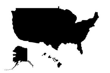 Silhouette of map of United States of America (USA) with states, Alaska and Hawaii. Black and white illustration isolated on white background