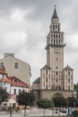 St. Nicholas Cathedral in Bielsko Biala. It was created in the years 1443 - 1447 but got its present shape in 1912. It has elements of architectural styles from gothic to modernism.