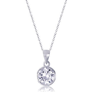 diamond heart pendant with necklace on white background.