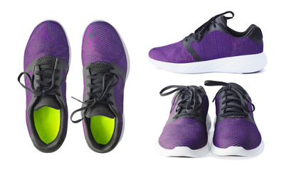 Pair of running purple sneakers isolated on white background. Top, side and front views of sport shoes