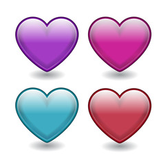 Vector hearts. The upper two are glossy and have 3d effects. The other two have blending colors and shapes.