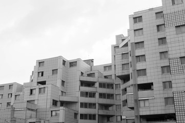Residential tower from French architecture in black and white
