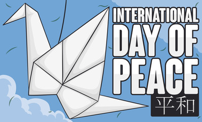 Paper Crane with Sky View for International Day of Peace, Vector Illustration