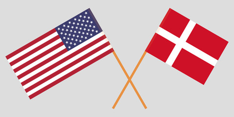 USA and Denmark. American and Danish flags. Official colors. Correct proportion. Vector