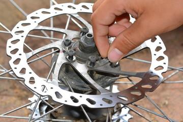 Anschrauben einer Bremsscheibe an einer Mountainbike-Hinterfelge