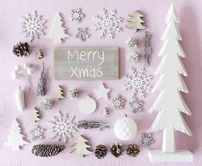 Christmas Decoration, Flat Lay, Text Merry Xmas