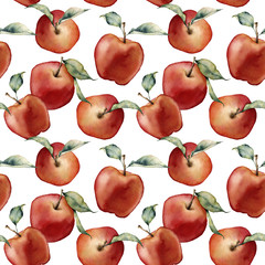 Watercolor apples seamless pattern. Hand painted red apples with leaves isolated on white background. Botanical food illustration for design, print or background