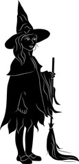 Silhouette of a witch with a broomstick