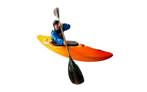 Whitewater kayaking isolated on white