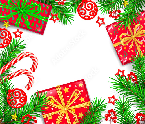 new year greeting card with holiday boxes and blank background for your text