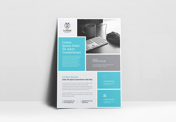 Blue and Gray Colorblock Flyer Layout