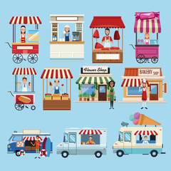 Set of food business booths with owners collection vector illustration graphic design