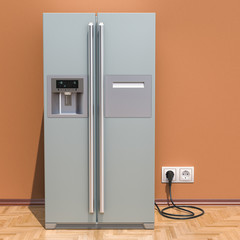 Modern fridge with side-by-side door system in interior, 3D rendering