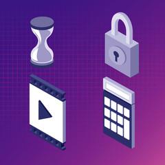 Set of app isometrics symbols vector illustration graphic design