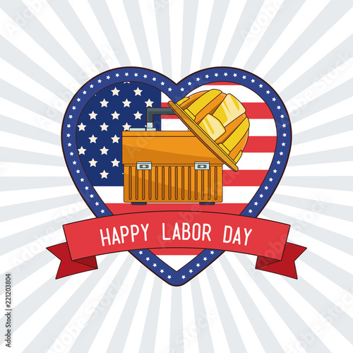 Happy Labor Day Heart Shaped Symbol With Ribbon Banner Vector