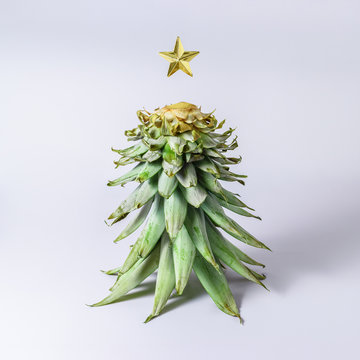Christmas tree made of pineapple leaves. Holiday  minimal concept.