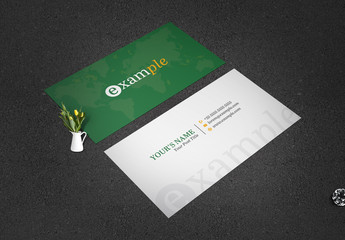 Green Business Card Layout with World Map Illustration