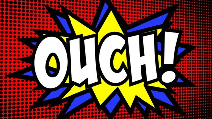 A comic strip cartoon with the word Ouch. Green and halftone background, star shape effect.