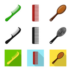 Vector illustration of brush and hair symbol. Collection of brush and hairbrush stock vector illustration.