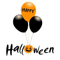 Happy Halloween message design background with pumpkin and balloons.