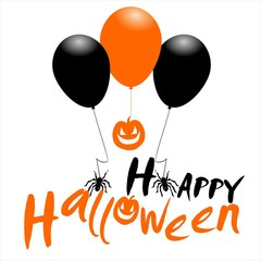 Happy Halloween message design background with balloons, pumpkin  and spiders.