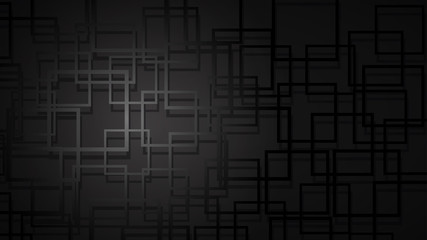 Abstract background of intersecting squares with shadows in dark colors