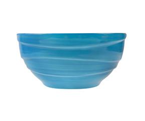 ceramic empty blue bowl  isolated on white background