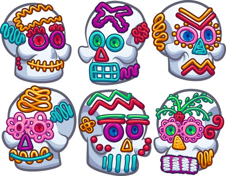 Mexican sugar skulls. Vector clip art illustration with simple gradients. Each on a separate layer.