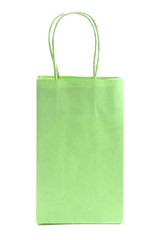 Single Green Giftbag on a White Background