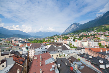Innsbruck city center aerial view