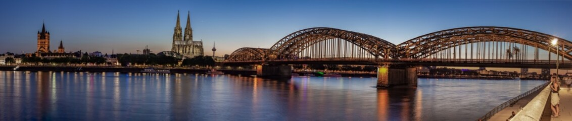 Panoramic View of Rhine River in Cologne at Sunset