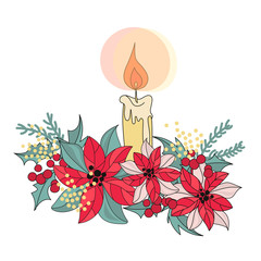 Merry Christmas Color Vector Illustration Set CANDLE for Scrapbooking and Digital Print on Card and Photo Children's Albums