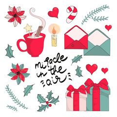 Merry Christmas Color Vector Illustration Set NEW YEAR SUPPLIES for Scrapbooking and Digital Print on Card and Photo Children's Albums