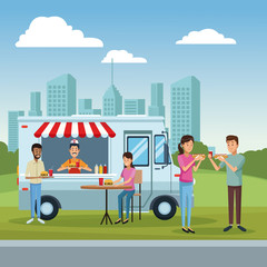 Food truck and customers
