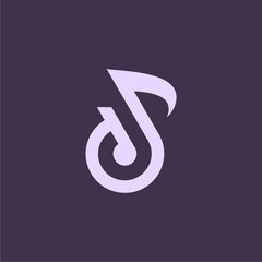 Luxury Flat Sound logo symbol, D initial Note logo template designs concept