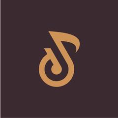 Luxury Flat Sound logo symbol, D initial Note logo template designs concept