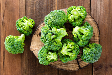Broccoli. Fresh broccoli on wooden background