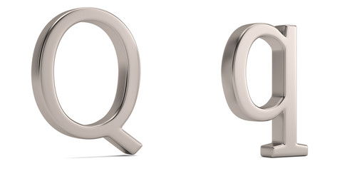 Steel metal q alphabet isolated on white background 3D illustration.