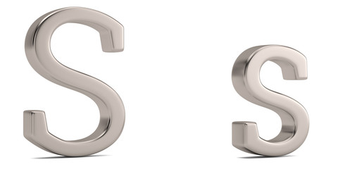 Steel metal s alphabet isolated on white background 3D illustration.