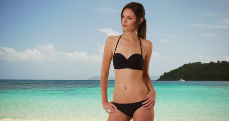 Flirty female in her 20s wearing bikini posing for camera on serene beach