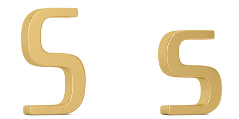 Gold metal s alphabet isolated on white background 3D illustration.
