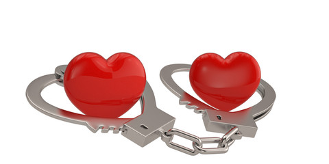 Handcuffs in the form of heart and hearts isolated on white background 3D illustration.