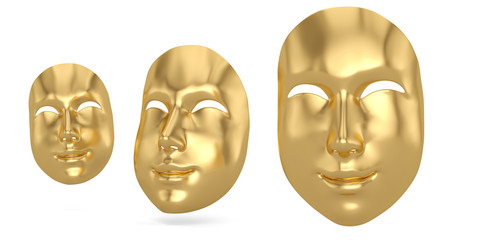 Gold happy  mask isolated on white background 3D illustration.